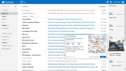 Screenshot of Outlook.com Inbox showing targeted ads
