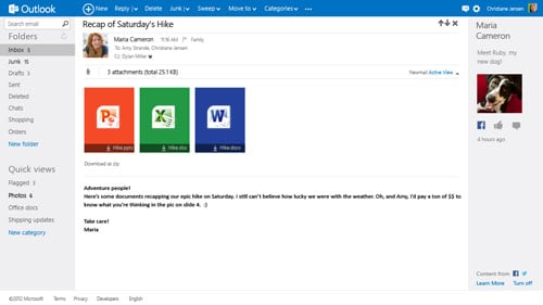 Screenshot of Outlook.com showing attachments and Facebook integration