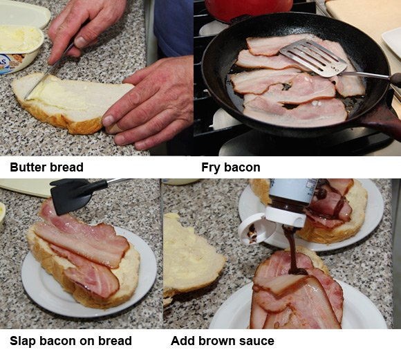 The four steps required to create the classic bacon sarnie