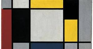 """""""Composition with yellow, red, black, blue, and grey"""" by Piet Mondrian (1920)"""