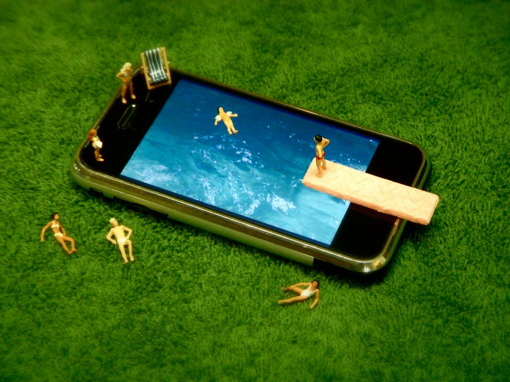 iPhone swimming pool