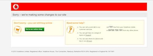 Vodafone site down, screengrab