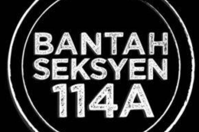 The Stop Amendment 114a logo in Malay