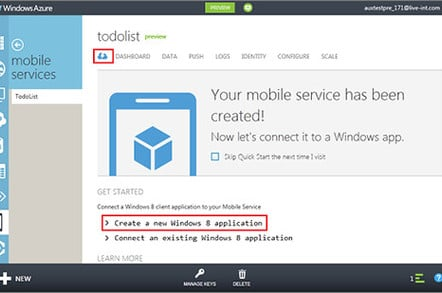 Screenshot of Windows Azure Mobile Services dashboard