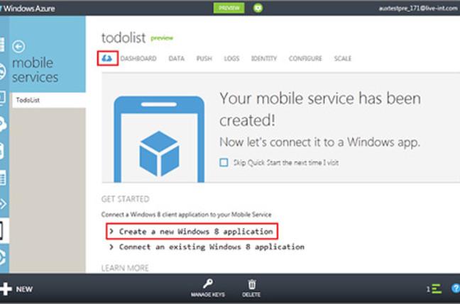 Screenshot of Windows Azure Mobile Services dashboard