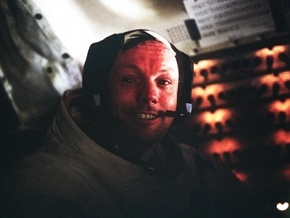 Neil Armstrong in the Eagle after the Apollo 11 moonwalk