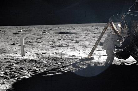 One of the few photos showing Neil Armstrong during the Apollo 11 moonwalk