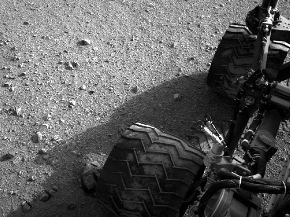 Soil clinging to Curiosity's wheels