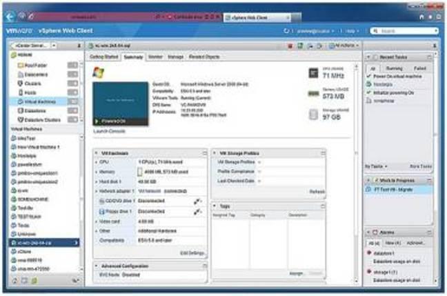 VSphere UI. Credit: VMware