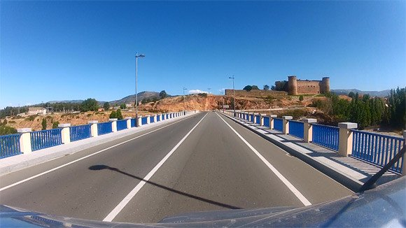 A viewof Barco de Avila from the GoPro HERO2, mounted on top of the van