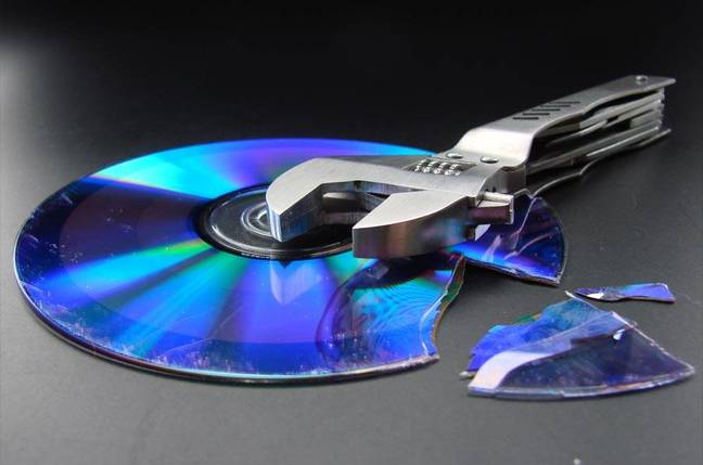Broken CD with wrench