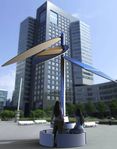 The dutch ZonSpot solar powered WiFi desk
