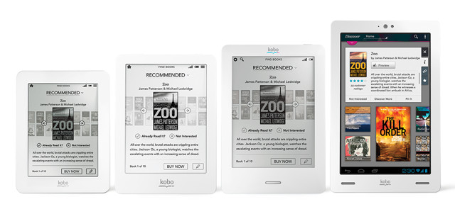 Kobo 2012 e-book reader line-up