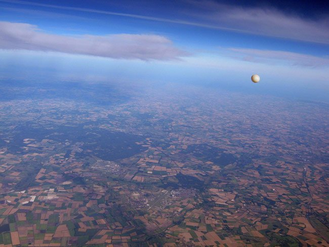 The view at 10km from Dave Akerman's payload, showing the Millinut balloon in the background