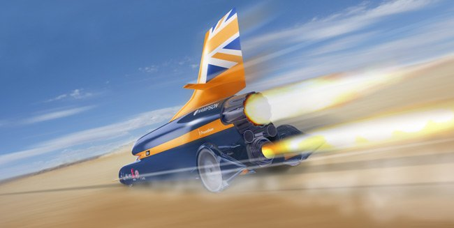 Artist's impression of the Bloodhound SSC thundering along