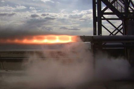 The hyprid rocket during an earlier static test. Pic: Bloodhound SSCV