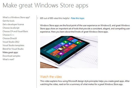 Screenshot of a Microsoft promotion for Windows Store Apps