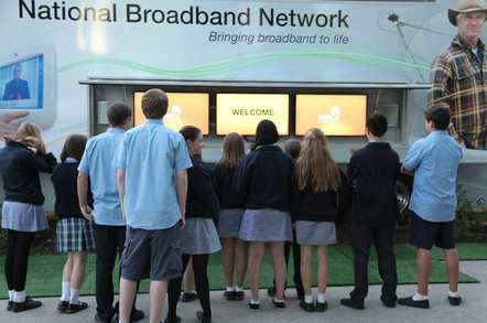 secondary age school kids outside NBN truck