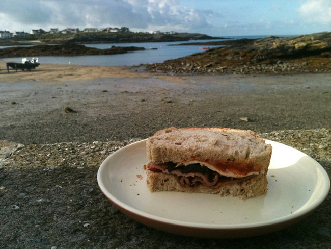 Matt Hamilton's bacon sarnie, overlooking Trearddur bay