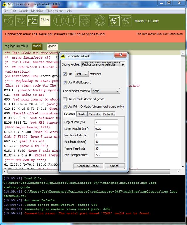 Greplicator software showing model parameter
