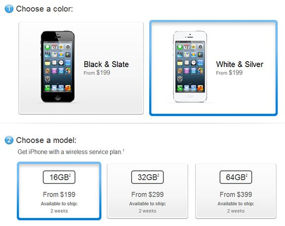 Screenshot of Apple Store showing iPhone 5 ship dates