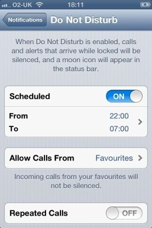 Apple iOS 6 Do not disturb
