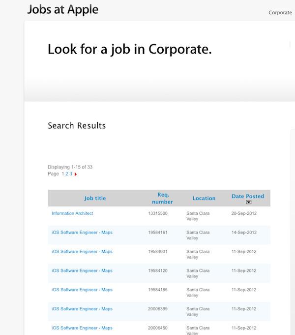 Job adverts in iOS6, screengrab Apple