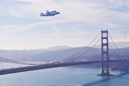Space Shuttle Endeavor buzzes the Golden Gate Bridge