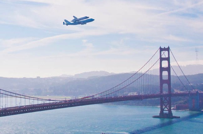 Space Shuttle Endeavor buzzes the Golden Gate Bridge
