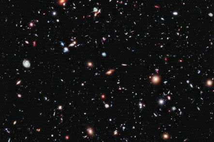 The Hubble Extreme Deep Field (XDF): an image of a small area of space in the constellation Fornax, created using Hubble Space Telescope datafrom combined Space Telescope exposures taken over a decade