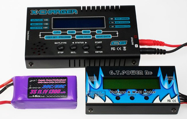 Our LiPo battery, charger and meter