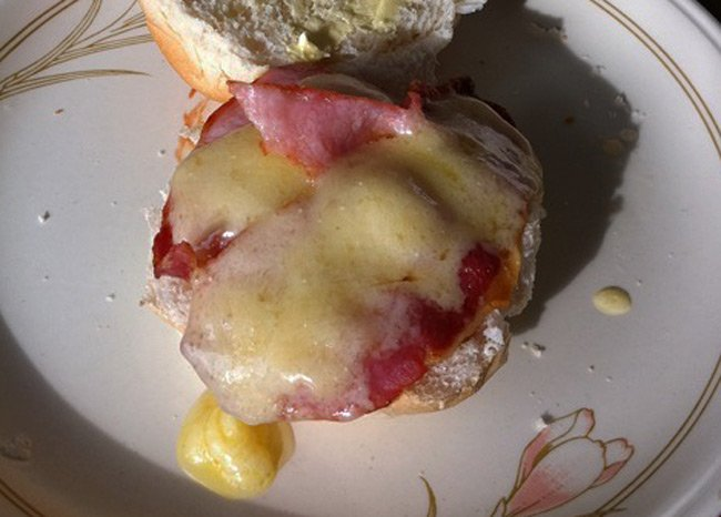 Richard Bedford's bacon on a roll with melted cheese