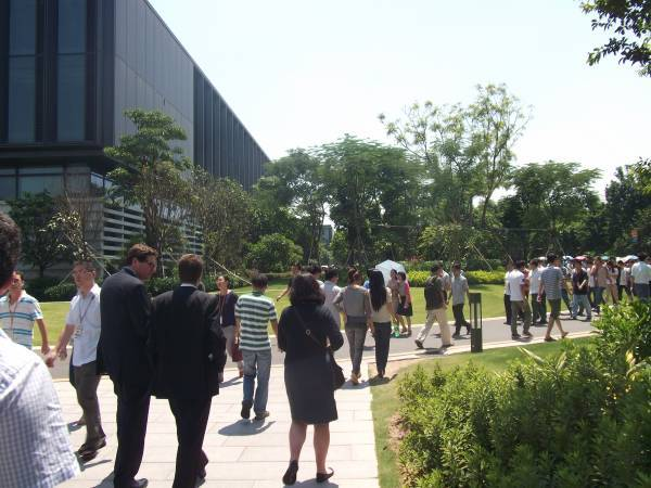 Huawei campus Shenzhen crowd