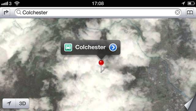 Apple Maps shows Colchester