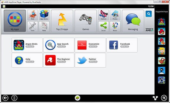 Screenshot of AMD AppZone Player powered by BlueStacks