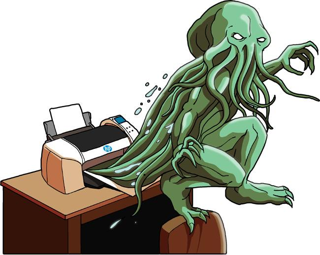 Cthulu springs from HP desktop printer - cartoon by Andy Davies