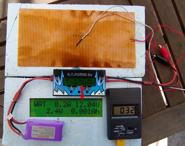 The heater test rig, with battery, watt meter, temperature sensor, heater and insulation