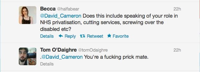 Twitter responses to David Cameron