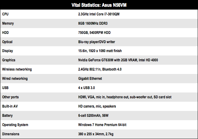Asus N56VM 15.6in notebook