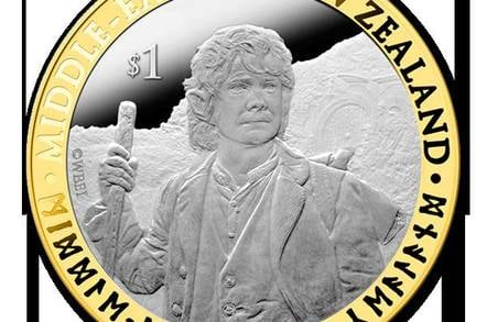 One of New Zealand Post's commemorative Hobbit coins