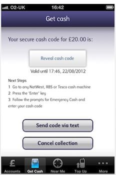 Natwest get cash feature in mobile banking app, credit screengrab iTunes