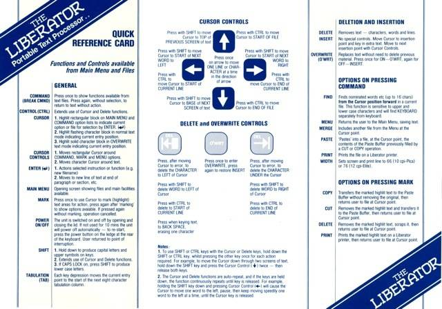 Thorn EMI Liberator Quick Reference Card