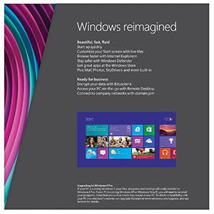 Back of the Windows 8 Pro retail box