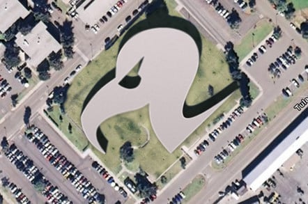 An aerial view of a building in the shape of our vulture logo