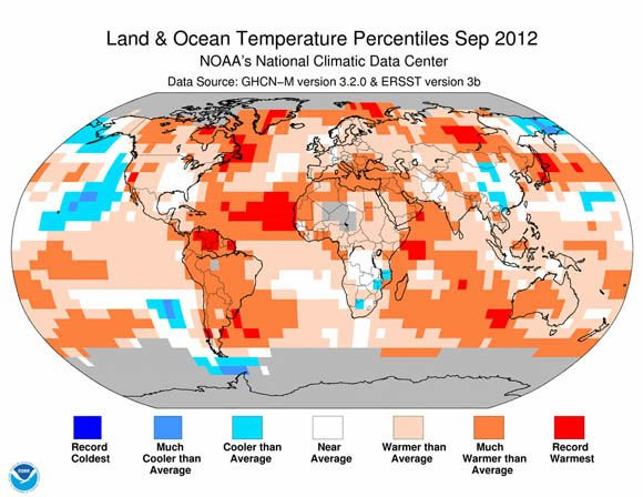 Land and Ocean Temperature Percentiles in September 2012