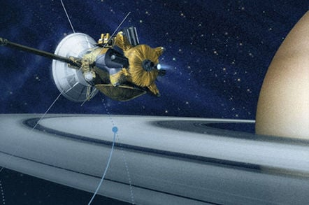Artist's impression of Cassini spacecraft orbiting Saturn