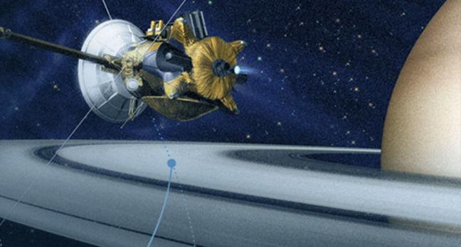 Artist's impression of Cassini spacecraft orbiting Saturn