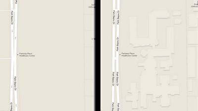 Google Maps before Footprints added, credit Google