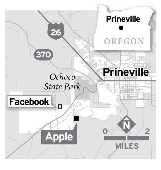 Map of Facebook and Apple data centers in Prineville, Oregon