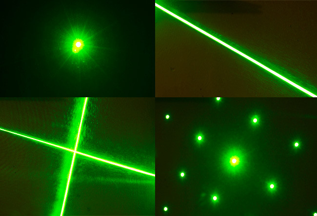Four patterns available from the laser: single point, line, cross and dots